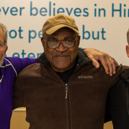 Marlon, Tony, and Guest in Men's Center on Veterans Day.
